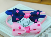 Wholesale Purple Cat Ears - New Princess Adorable Girls Hair Bows Lovely Bowknot Polka Dots Hair Sticks Children Hair Accessories Cats Ear Party Things 30pcs lot A574