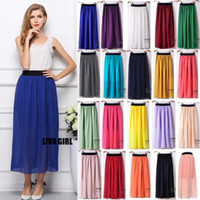 Wholesale Long Free Size Maxi Dresses - Hot Long Skirts for Women Chiffon Pleated Skirts With Liner Retro Sexy Maxi Dress 20 colors Free size 08021 5pcs