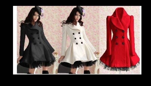 2018 New Long Woolen Coat Dress Moda Donna Inverno Ruffled Coat Natale Parka Plus Size Ladies Lace Peacoat Trench Capispalla W26