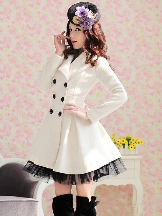 2017 New Long Woolen Coat Dress Fashion Women Winter Ruffled Coat Christmas Parka Plus Size Ladies Lace Peacoat Trench Coat Outerwear W26