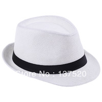 Wholesale Straw Mens Trilby Hats - 2013 New Womens Mens Unisex White Fedora Trilby Gangster Cap Summer Beach Sun Straw Panama Hat Couples Lovers Hat