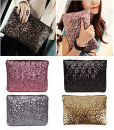 Wholesale Embroidery Clutch Wholesale - Fashion Women Lady Sparkling Bling Sequins Clutch bag Purse Wedding Evening Party Handbag Dazzling Glitter wallet makeup bags tote 9colors