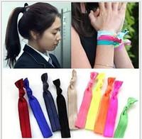 Wholesale Hair Elastic Bracelet - girls' Shimmery Hair Ties bracelet Ribbon hair tie elastic wristbands ponytail holder 150pcs FD6510
