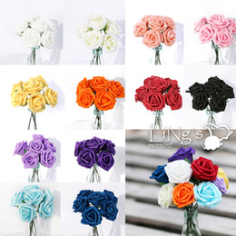 Wholesale Artificial Rose Bunches - Wholesale-LiNg's 50pcs 5.5cm Foam Rose Bunch Wedding Artificial Flower For Home Decorations Free Shipping