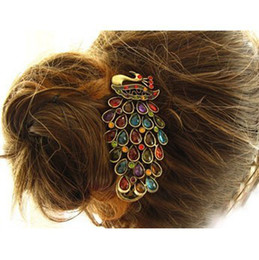 Wholesale Crystal Hair Accessories Peacocks - Wholesale-Free shipping Hot Sale Vintage Gorgeous Alloy Coloful Crystal Peacock Barrettes Duckbill Clip Banana Clip Hair Accessory Hair