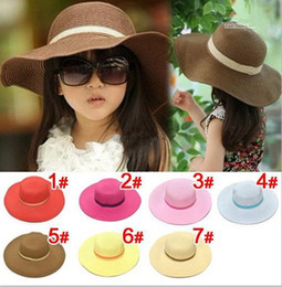 Wholesale Trendy Shades - Hot style Baby girl straw sunhats popular sunhats for kids wide brim beach Trendy Sun Shade hot sell Children caps A4611