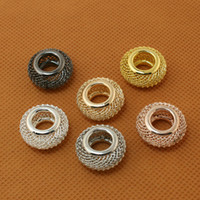 Wholesale Large Metal Circle - 100pcs lot 9x18mm Roundel Shape 6 Colours Available Large Hole Mesh Net European Beads for Jewelry & European Bracelet