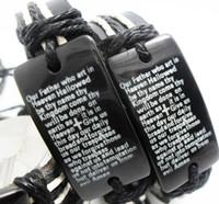 Wholesale English Leather Wholesale - New 10pcs English Lord's Prayer Mens Leather Bracelets Fashion 2017 New Wristbands Wholesale Jesus Religious Jewelry Lots