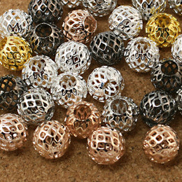 Wholesale Beads Colour - 120pcs lot Round Ball 9x10mm 6 Colours Available Hollow Metal Spacer Beads fit European Bracelet & Jewelry