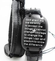 Wholesale Grand Big - Brand New BIG head English Serenity Prayer Bracelets Mens Leather Fashion Wristbands Wholesale Religious Jesus Jewelry Lots God grand me...