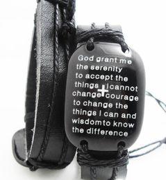Wholesale Religious Gods - Brand New BIG head English Serenity Prayer Bracelets Mens Leather Fashion Wristbands Wholesale Religious Jesus Jewelry Lots God grand me...