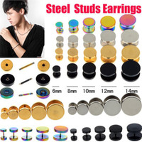 Wholesale fake ear gauges - 10PCS Stainless Steel Earring Fake Cheater Ear Plugs Gauge Illusion Body Pierceing Jewelry 4color U choose Free Shipping