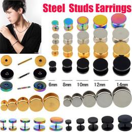 Wholesale U Choose - 10PCS Stainless Steel Earring Fake Cheater Ear Plugs Gauge Illusion Body Pierceing Jewelry 4color U choose Free Shipping