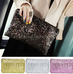 Wholesale Handbag Ems - Women Sparkling Bling Sequins Beads Clutch bag Purse Wedding Evening Party Handbag Dazzling Glitter wallet makeup bags tote Pouch gifts EMS