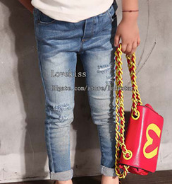 Wholesale Wholesale Childrens Pants - Girls Jeans Kids Pants Children Jeans Denim Trouser Girl Clothes Kid Ripped Jeans Childrens Pants Fashion Jeans Child Clothing Skinny Jeans