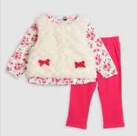 Wholesale Long Sleeved Vest Baby - Wholesale -Spring autumn children clothes baby girl floral clothes Girl Plush Vest+long-sleeved shirt+leggings 3 pieces 6s l