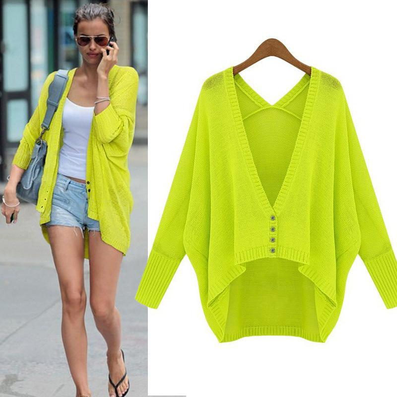 2018 Batwing Sleeve Cardigan 2014 New Women Sweater Neon Green ...