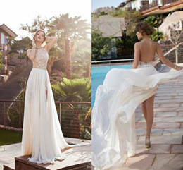 Wholesale Custom Empire Waist Dresses - 2017 Julie Vino summer beach high waist empire wedding dresses A line chiffon side slit lace halter backless court train bridal gowns BO5557
