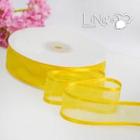 Wholesale Organza Ribbon Satin Edge - LiNg's 10mm 50 Yards Yellow Satin Edge Organza Ribbon For Wedding Party Decoration DIY Supply