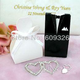 Wholesale Tuxedo Favour Boxes - 50 pieces Bride & Groom Tuxedo Dress Wedding Favor Box, Favour Box, Gift Box - FREE SHIPPING