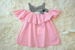 Wholesale Chiffon Kids Ruffle Tops - Wholesale -Summer children clothes baby girl striped dress slip dress kids chiffon top 5 p l