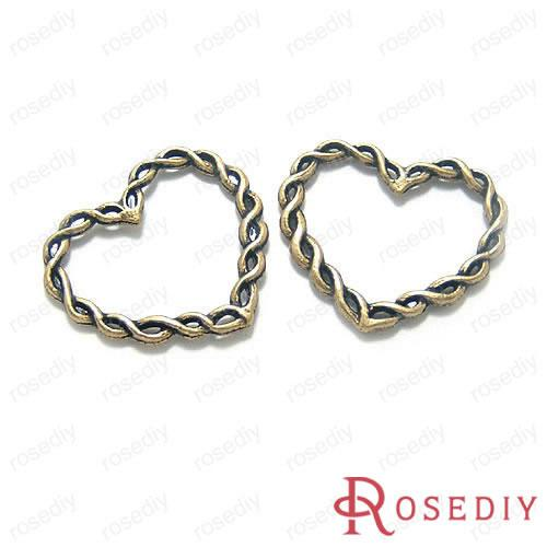 2018 Wholesale 30*2mm Antique Bronze Twisted Wire Heart Alloy Charms ...