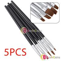 Wholesale Gel Brushes Nails - 5PCS Nail Art Acrylic UV Gel Salon Pen Flat Brush Kit Dotting Tool #11335