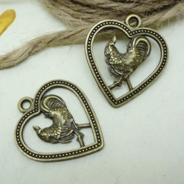 Rooster signs charms pendant antique bronze alloy metal twelve Chinese zodiac for DIY jewelry accessories 100pcs/lot 25*22*2MM SP200