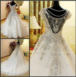 Wholesale Exquisite Rhinestone Bridal Gown - Exquisite Rhinestone Sequins Wedding Dress A-Line Backless Train Crystal Beads Applique Cap Sleeve Beautiful Bridal Gown Ball Custom Made