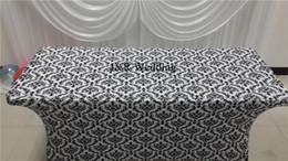 Utilizza il panno da tavola online-1 PZ Spedizione gratuita 6FT * 29 '' Bianco Nero Printted Rettangolo Spandex Tovaglia Per Uso Decor Wedding