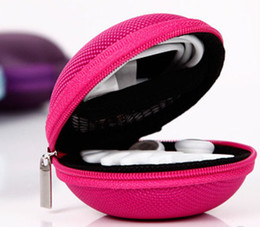 Wholesale Small Usb Key - Small money bag Round Coin Purses Portable Key wallets Data USB cable headset bags