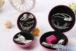 Wholesale Headset Key - Round Coin Purses Portable Key wallets Data USB cable headset bags Small money bag with zipp