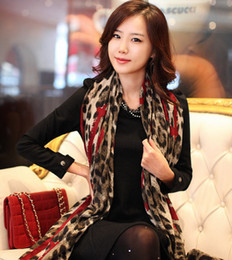 Wholesale Womens Leopard Scarves - New Womens Cotton Voile Leopard Heart Scarf Lady's Silk Shawl Long Scarves