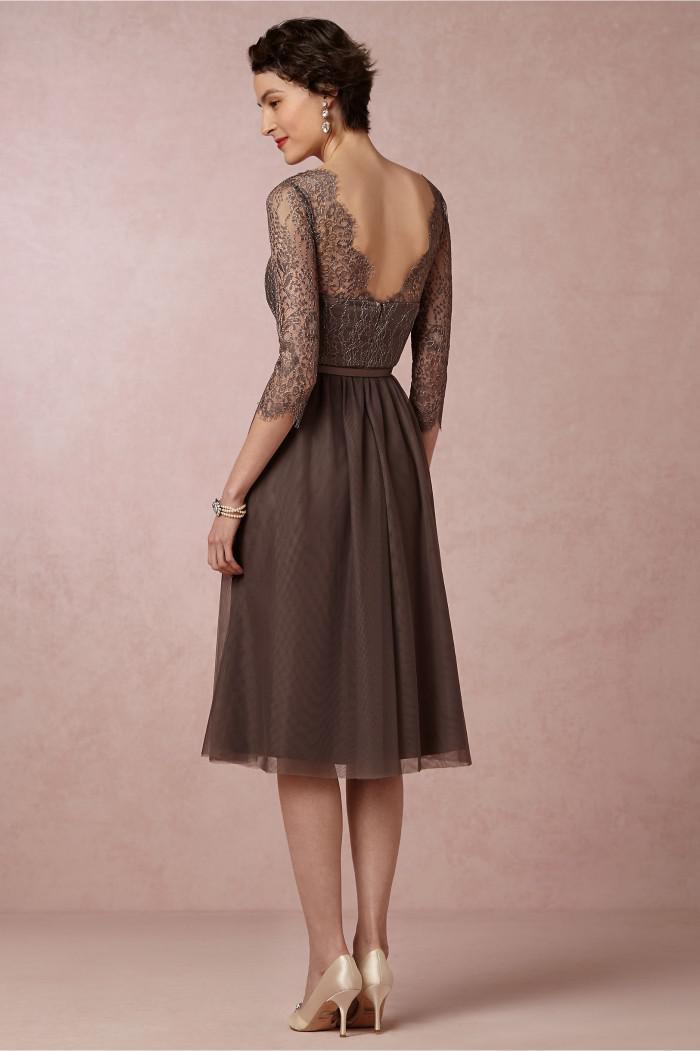 Sheer mit V-Ausschnitt Abendkleider Lace Dark Brown Plus Size Tee Länge Mutter der Braut-Kleider mit 3 4 Langarm-DL260