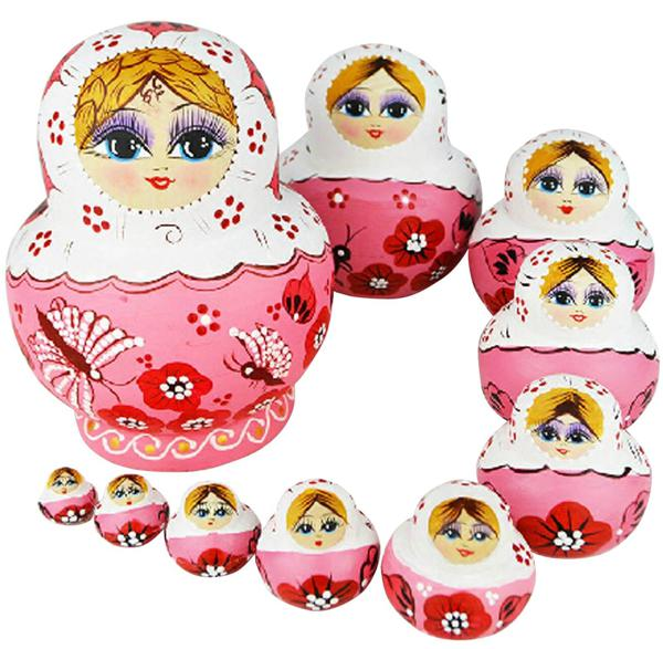 Wholesale-OP-10pcs lot Hand Painted Matryoshka Doll Basswood Beautiful Doll Wooden Toys Russian Nesting Dolls New Arrival Girl Gift