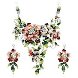 Wholesale Bridal Rhinestone Jewlery - big multicolors bridal jewlery set flower cluster necklace earrings set Neoglory Rihood Jewelry NJ-630 18k real gold plated
