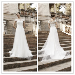 Wholesale Neck Designs Crystals - 2015 A-line lace bateau wedding dresses hollow floor length column new design custom made free shipping sleeveless simple beach dresses
