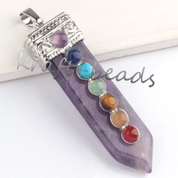 Wholesale Gem Clusters - 10pcs Natural Silver Plated Amethyst Crystal Gem Sword Taper Healing Chakra Pendant Charms Jewelry Fit Necklace