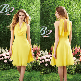 Wholesale Cocktail Dresses Ivory Color - 2017 Short Yellow Bridesmaid Dress Jasmine Halter Knee Length Lace Chiffon Prom Dress Party Dress Cocktail Dresses Maid of Honor Dresses