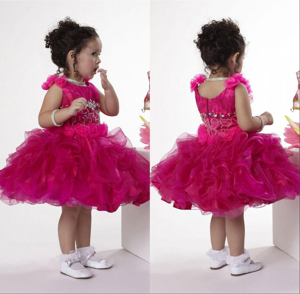 The Most Beautiful Fancy Kids Toddler Pageant Dress Jewel Neck Cap ...