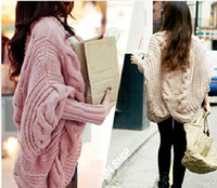 Wholesale Loose Batwing Sweaters For Women - 2014 fashion cardigan Sweaters for Women The new Fall and Winter clothes Batwing sleeve Cardigan knitting loose Shawl ladies thick NMY17