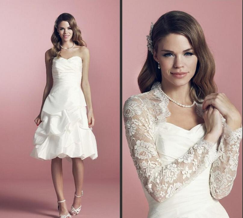 2014 Cheap Short Wedding Dress with Lace Jacket Long Sleeve Sweetheart Ruffles Taffeta Knee Length Bridal Gowns Custom Made W44