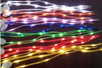 Wholesale Led Flashing Shoelace Fiber Optic - 2014 Newest LED Lamp beads Flashing Shoe Lace Fiber Optic Shoelace Luminous Shoe Laces Light Up Flash Glowing Shoeslace