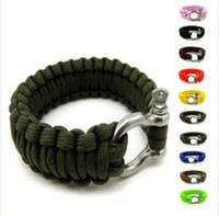 Wholesale Survival Bracelet U Clasp - Survival Bracelets Paracord Parachute Camping Bracelet Stainless Steel U Clasp Escape Life-saving Bracelet Hand Made wristband Outdoor Gear