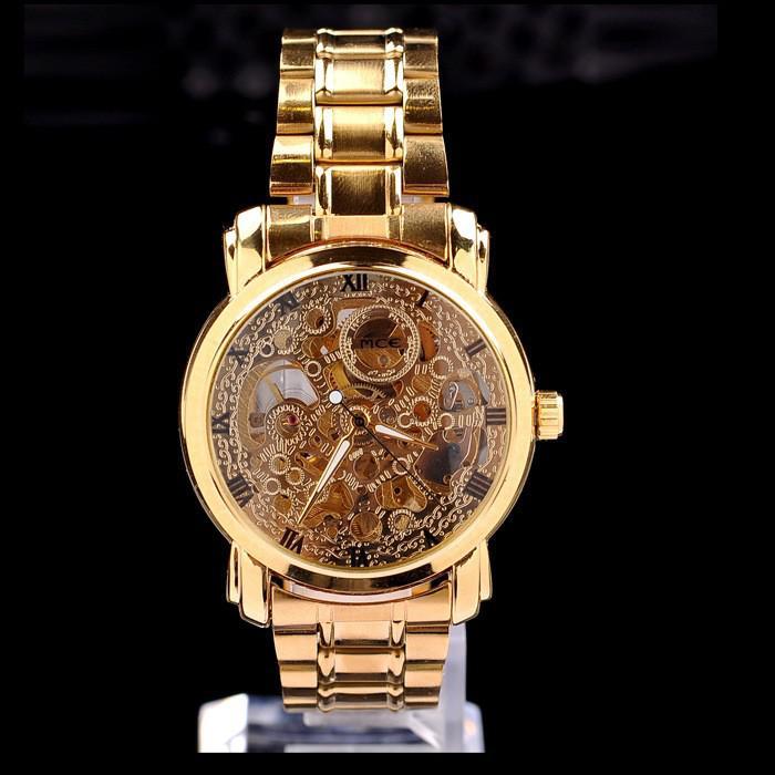 67c933666e1 Compre Chegada Nova MCE Marca Esqueleto De Ouro Estilo De Luxo Relógio Dos  Homens Relógio Mecânico Automático Para MC13 De Ikwatches
