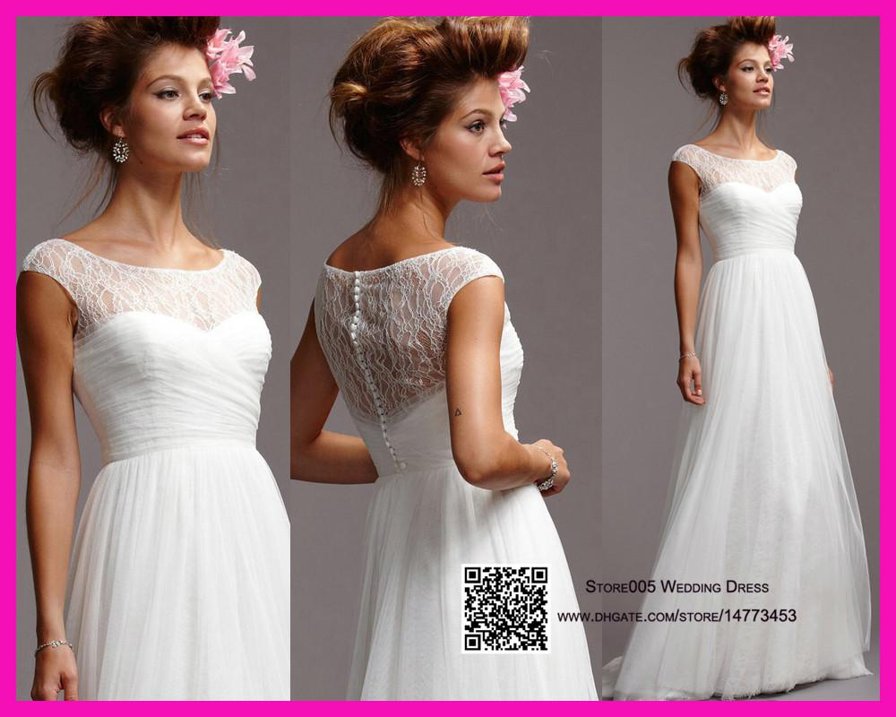 Discount Simple Pure White Lace 2015 Wedding Dresses A