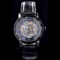 ingrosso orologi meccanici mce-Spedizione gratuita MCE Orologio da uomo in pelle nera di lusso stile orologio meccanico automatico per MC14