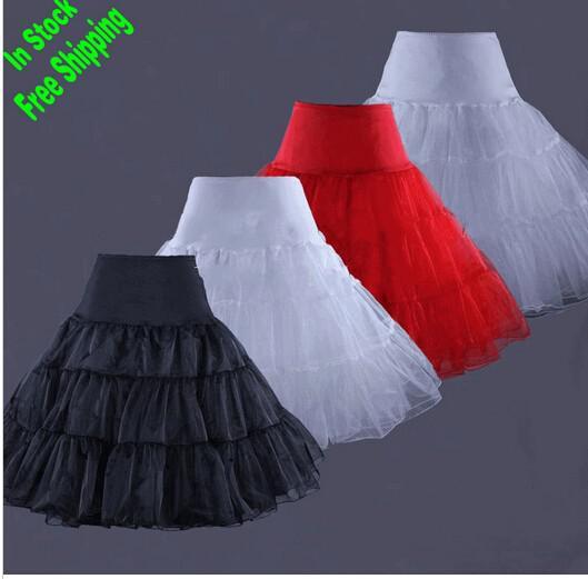 Auf Lager Weiß Elfenbeinrot Zurück Petticoats 2019 Hot A-Linie Kurz Petticoat Retro Unterrock Swing Tutu Einzigartiger Entwurf Kostenloser Versand