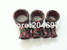 Wholesale 18mm Ear Plugs - Wholesale-14pcs Mix 7 Gauges 6-18mm New Cherry Logo Print Acrylic Double Flared Flesh Tunnel Ear Expander Plug Body Piercing Jewelry
