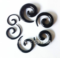Wholesale acrylic plastic men s spiral black taper fashion body piercing ear hole expander set
